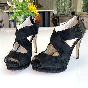 Michael Kors platform  heels in black suede.